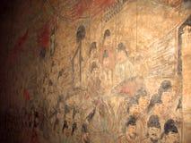 Pintura de parede no túmulo do príncipe herdeiro Yide, filho do imperador Zhongzong em Tang Dynasty, Xian, China fotografia de stock