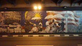 Pintura de parede no túnel fotografia de stock