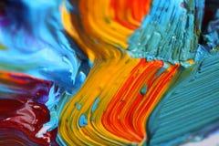 Pintura de petróleo mezclada con la brocha Imagen de archivo libre de regalías