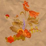 Pintura de Petrikov Ornamento floral en viejo fondo de papel Fotografía de archivo