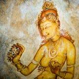 Pintura de Sigiriya na rocha do leão e a fortaleza no céu Imagem de Stock Royalty Free