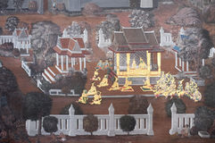 Pintura de Tradtional Tailandia en la pared Foto de archivo libre de regalías