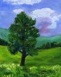 Pintura de uma árvore do Sycamore em uma paisagem do verão Fotos de Stock Royalty Free