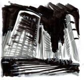 Pintura de uma cena da cidade Fotos de Stock
