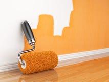 Pintura de uma parede vazia. HOME da renovação Imagens de Stock