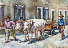 Pintura de una escena rural Fotografía de archivo libre de regalías