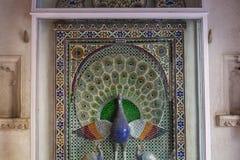 Pintura de vidro do pavão Imagem de Stock Royalty Free