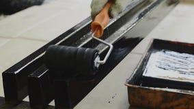 Pintura del acero almacen de metraje de vídeo