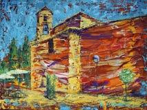 Pintura del arte abstracto de la iglesia española vieja fotografía de archivo libre de regalías
