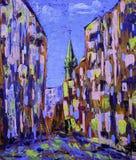 Pintura del arte de Absract de la calle vieja de la ciudad imagenes de archivo