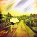 Pintura del arte de la acuarela del día lluvioso libre illustration