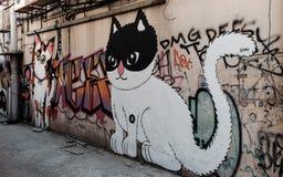 Pintura del arte de la calle en la pared en Bangkok Fotos de archivo libres de regalías