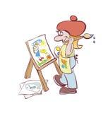 Pintura del artista en la base Fotografía de archivo