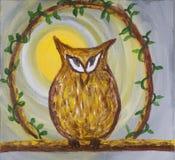 Pintura del búho marrón astuto disimulado en el acrílico Fotografía de archivo libre de regalías