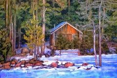 Pintura del bosque del invierno Foto de archivo libre de regalías