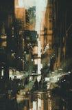 Pintura del callejón estrecho oscuro Imágenes de archivo libres de regalías