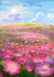 Pintura del campo de flor Fotos de archivo