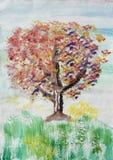 Pintura del campo y del árbol de flores fotos de archivo
