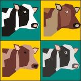Pintura del cartel de cuatro vacas en vector del estilo del arte pop Foto de archivo libre de regalías