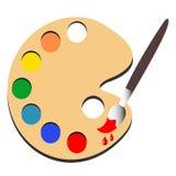 Pintura del cepillo con vector de la pintura de la paleta Fotografía de archivo