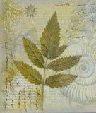 Pintura del collage con la hoja