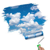 Pintura del concepto limpio del cielo/de la ecología Foto de archivo
