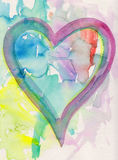Pintura del corazón de la acuarela con el fondo abstracto Imagen de archivo