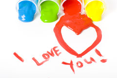 Pintura del día de tarjetas del día de San Valentín stock de ilustración