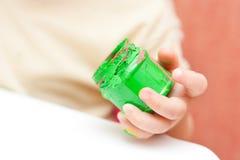 Pintura del dedo verde Imágenes de archivo libres de regalías