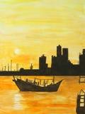 Pintura del dhow que se mueve hacia fuera al mar en la puesta del sol Fotos de archivo