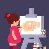Pintura del dibujo de la muchacha del niño a conseguir creativa stock de ilustración