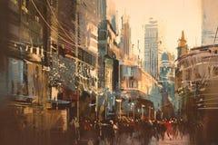 Pintura del ejemplo de la calle de la ciudad fotografía de archivo