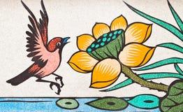 Pintura del estilo chino del arte en la pared de mármol Fotografía de archivo