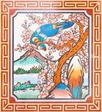 Pintura del estilo chino del arte en la pared del templo Imágenes de archivo libres de regalías