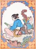 Pintura del estilo chino del arte en la pared en templo Fotos de archivo libres de regalías
