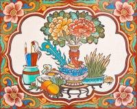 Pintura del estilo chino del arte en la pared en templo Imagen de archivo libre de regalías