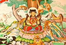 Pintura del estilo chino del arte en la pared en templo Imágenes de archivo libres de regalías