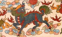 Pintura del estilo chino en la pared de la capilla Fotografía de archivo libre de regalías