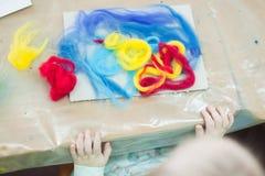 Pintura del fieltro del niño Fotografía de archivo