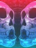 Pintura del fondo rosado y azul del cráneo Imagen de archivo libre de regalías
