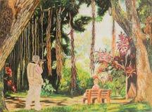 Pintura del fotógrafo de la mujer y del hombre en jardín Foto de archivo