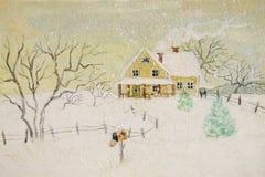Pintura del invierno de la casa con el buzón Foto de archivo