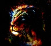Pintura del león en fondo abstracto del color Retrato del perfil Fotografía de archivo