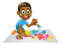 Pintura del muchacho de la historieta con el cepillo Fotografía de archivo