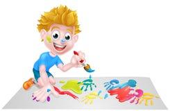 Pintura del muchacho de la historieta con el cepillo Imagen de archivo libre de regalías