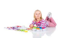 Pintura del niño con los fingeres Imagenes de archivo