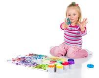 Pintura del niño con los fingeres Imágenes de archivo libres de regalías