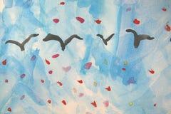 Pintura del niño: Gansos en otoño Imagenes de archivo