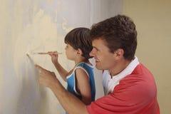 Pintura del padre y del hijo Fotografía de archivo