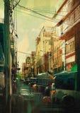 Pintura del paisaje urbano Fotos de archivo libres de regalías